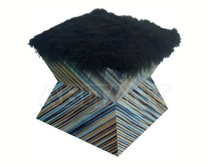Купить Пуф Sergio Villa Mobilitaly 2003-2011 POP & OP Squared Multicolor striped & Fur""