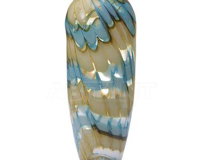 HJ6037-36-F51 Ваза стеклянная (бело-синяя) H36D14