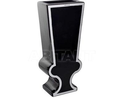 Y39 Ваза керамическая черно-белая 18*10*41