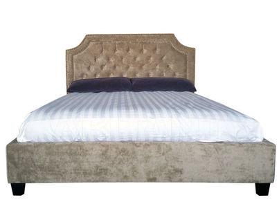 BS2022 Кровать (бархат бежевый) 217*172*130(спальное место 200*160)
