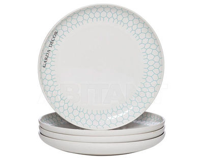 CB2193-15-F138 Тарелка белая с бирюзовым рисунком (4) 14.8*14.8*1.8