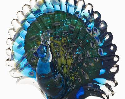 "F5242 Статуэтка""Павлин""(сине-зеленая) 19*9*15"