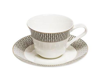 25WIN SORRENTO CUP/S 200 Чайная пара 200мл,серый орнамент (6)