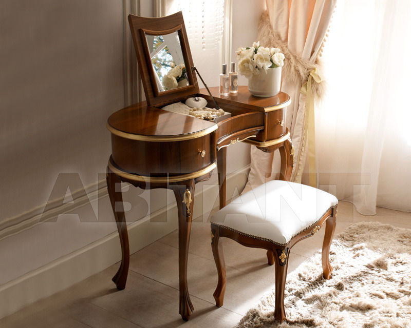 Купить Столик туалетный 2 Elle snc di Lenzi P. e P.  News VERSIONE NOCE E PROFILI IN FOGLIA ORO