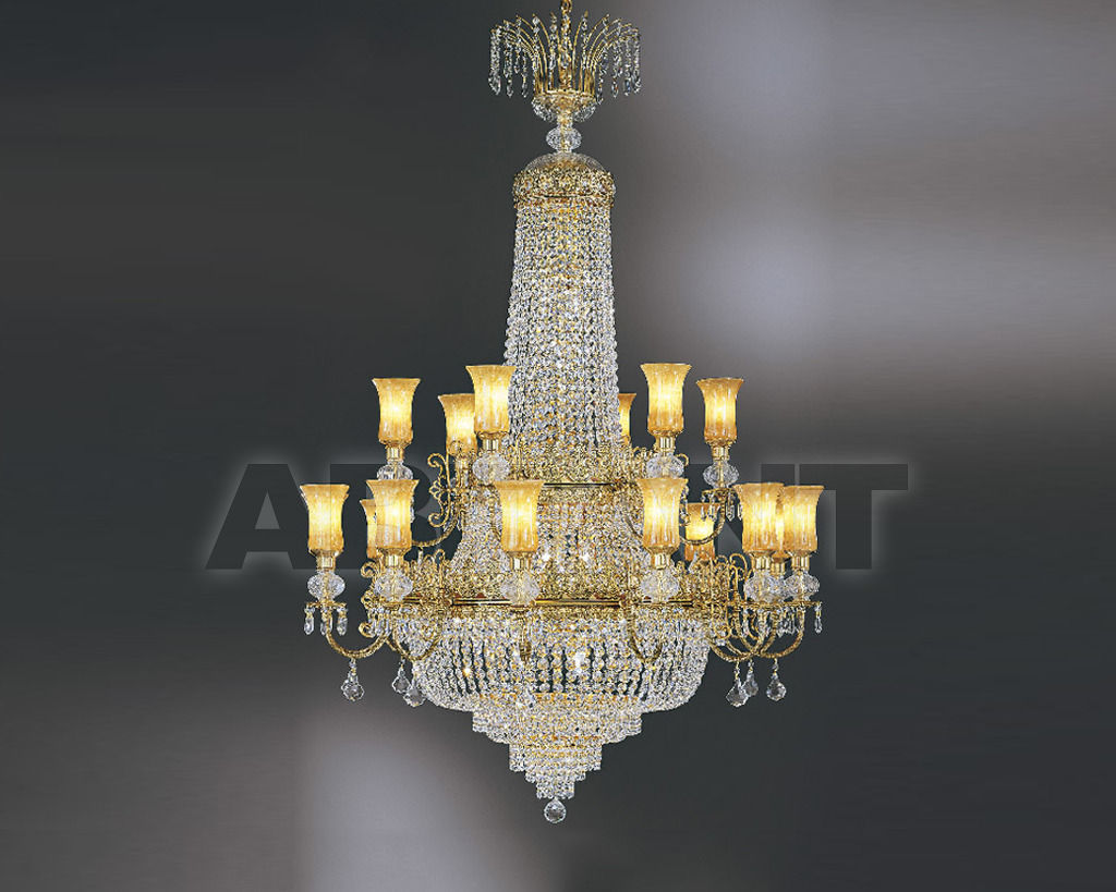 Купить Люстра Asfour Crystal Crystal 2013 CH 27007/18 Octagons Gold (OX) Glass shade