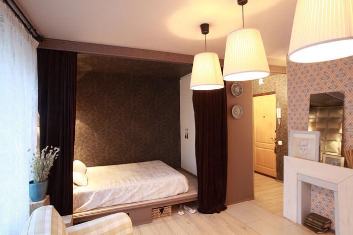 Спальня в однокомнатной квартире фото