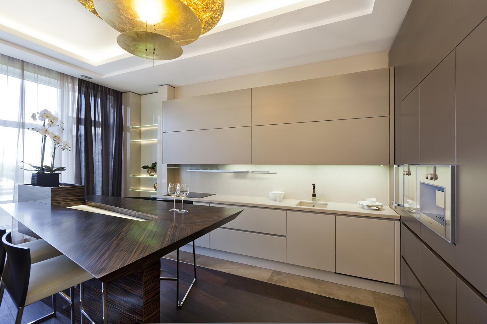 Кухня студия дизайн бежевая