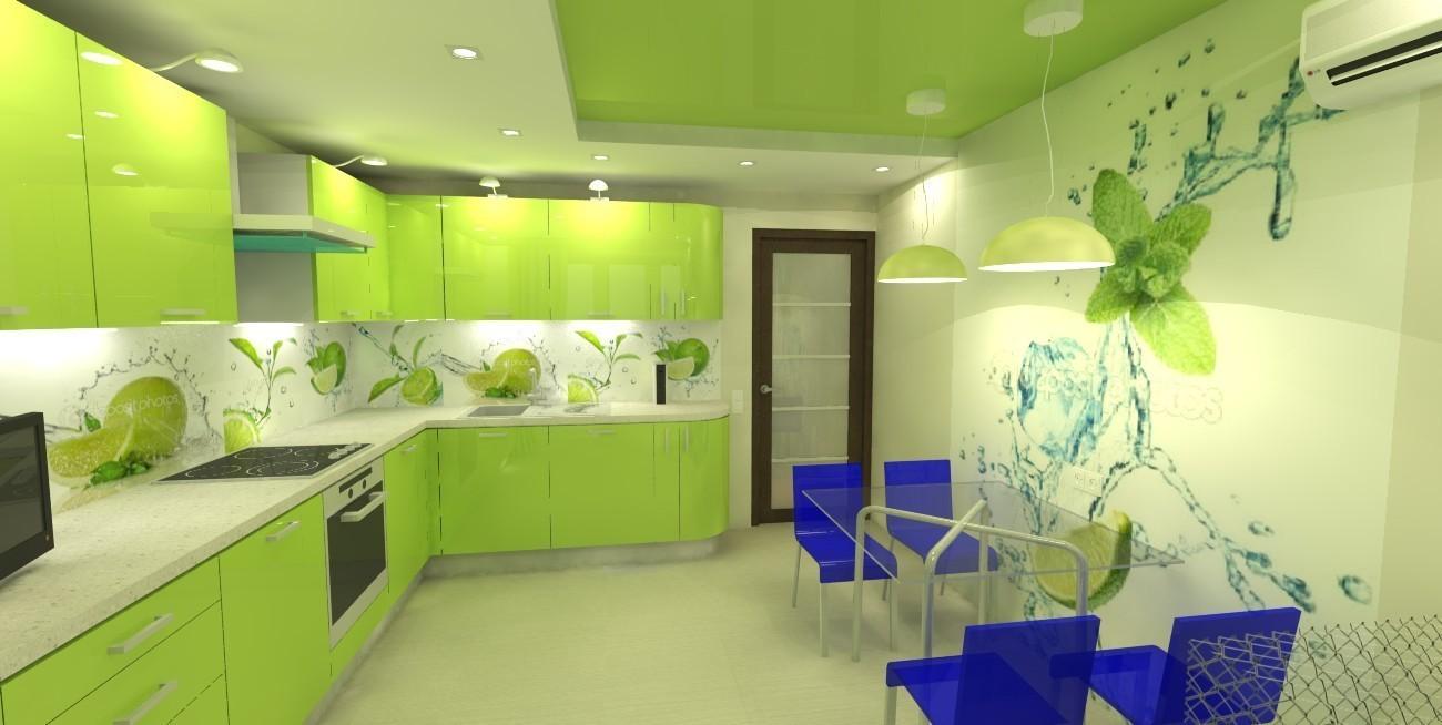 Обои на кухню зеленого цвета дизайн