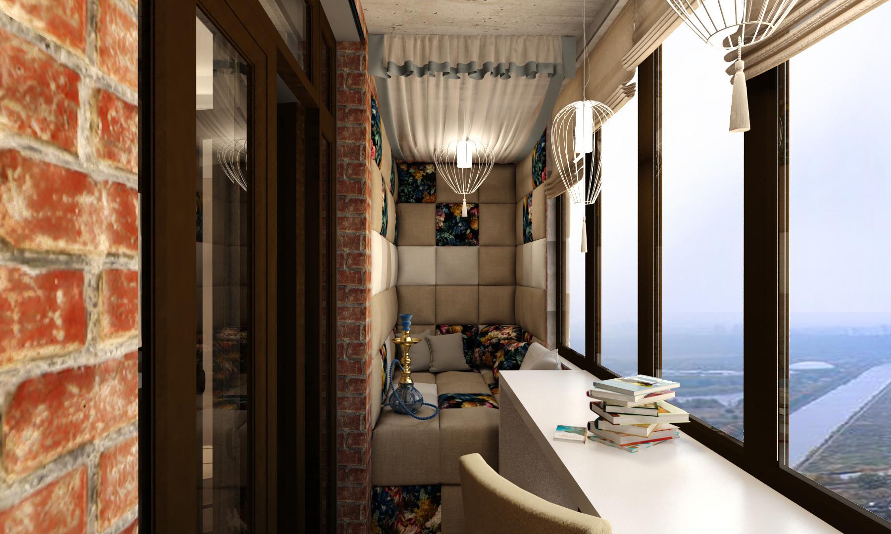 Интерьер функционального балкона.