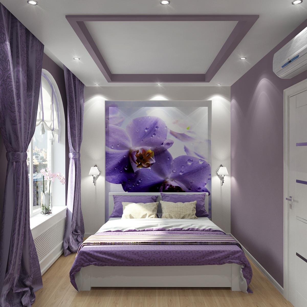 Смотреть фото фиолетовой спальни в квартире